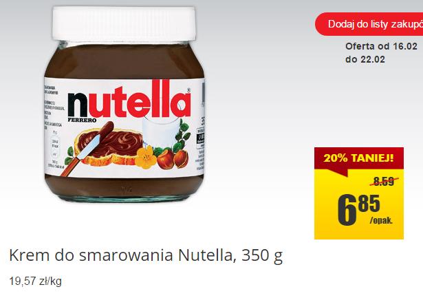 Nutella 350g za 6,85zł (-20%) @ Biedronka