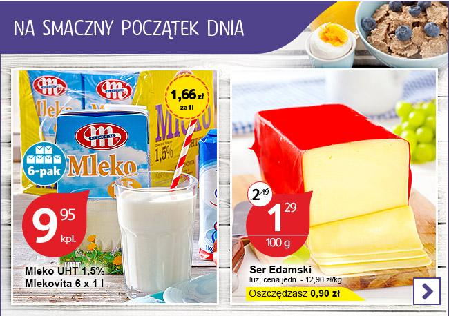 Mleko 1,5% 1 litr za 1,66zł oraz ser edamski za 12,99zł/kg @ Tesco