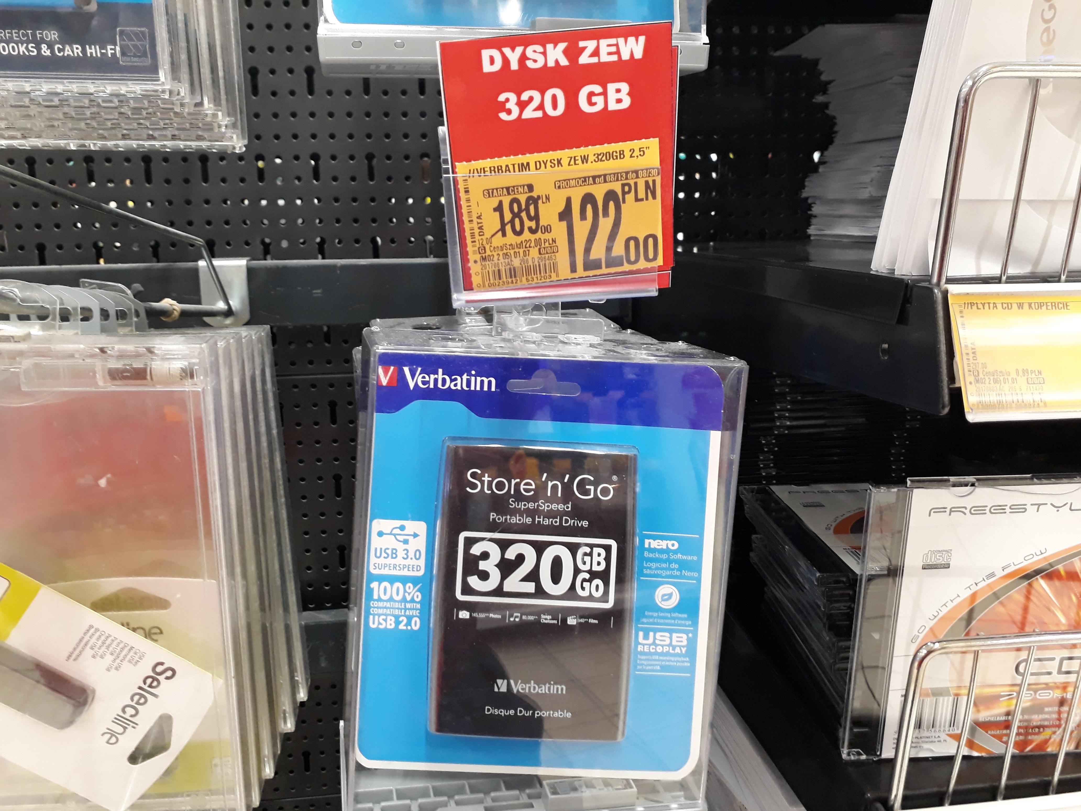 Auchan - Dysk przenośny Verbatim 320gb