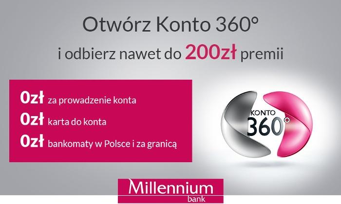 200zł premii do konta 360 w Banku Millennium @ Grupon