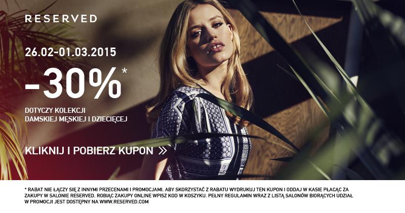 Kupon rabatowy -30% na nową kolekcję (poprzez Facebook) @ Reserved