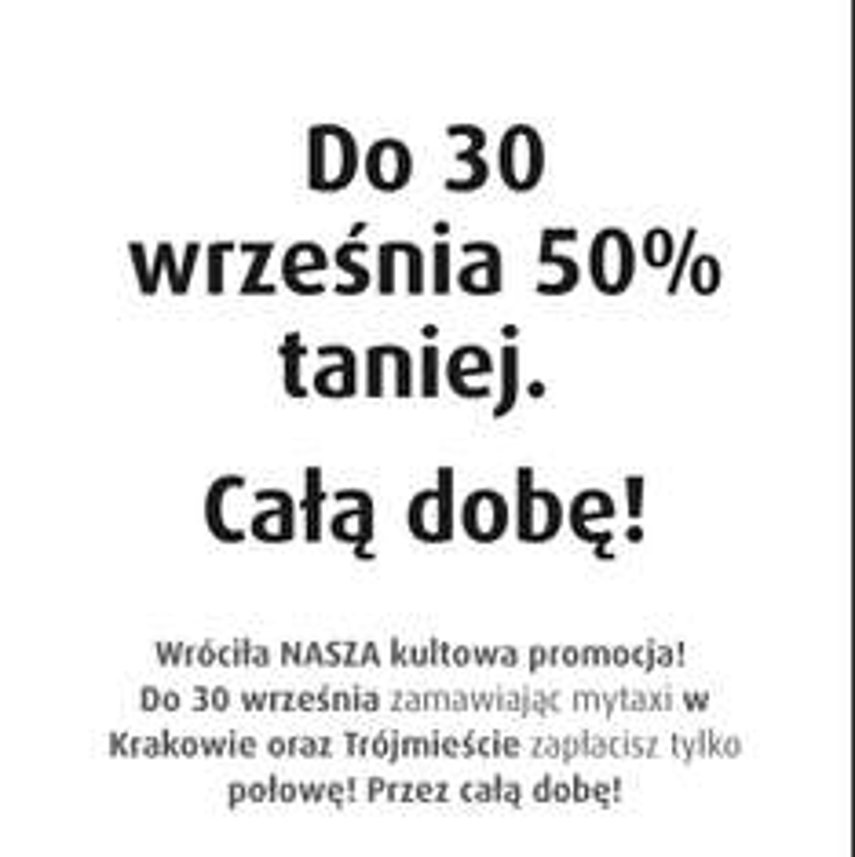 Mytaxi -50% całą dobę w trojmiescie i Krakowie