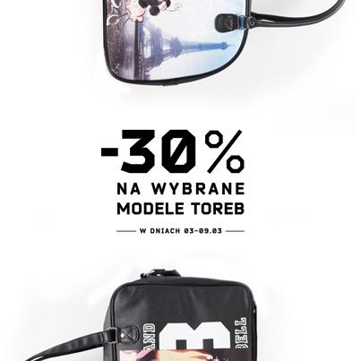 Rabat 30% na wybrane modele toreb @ Cropp