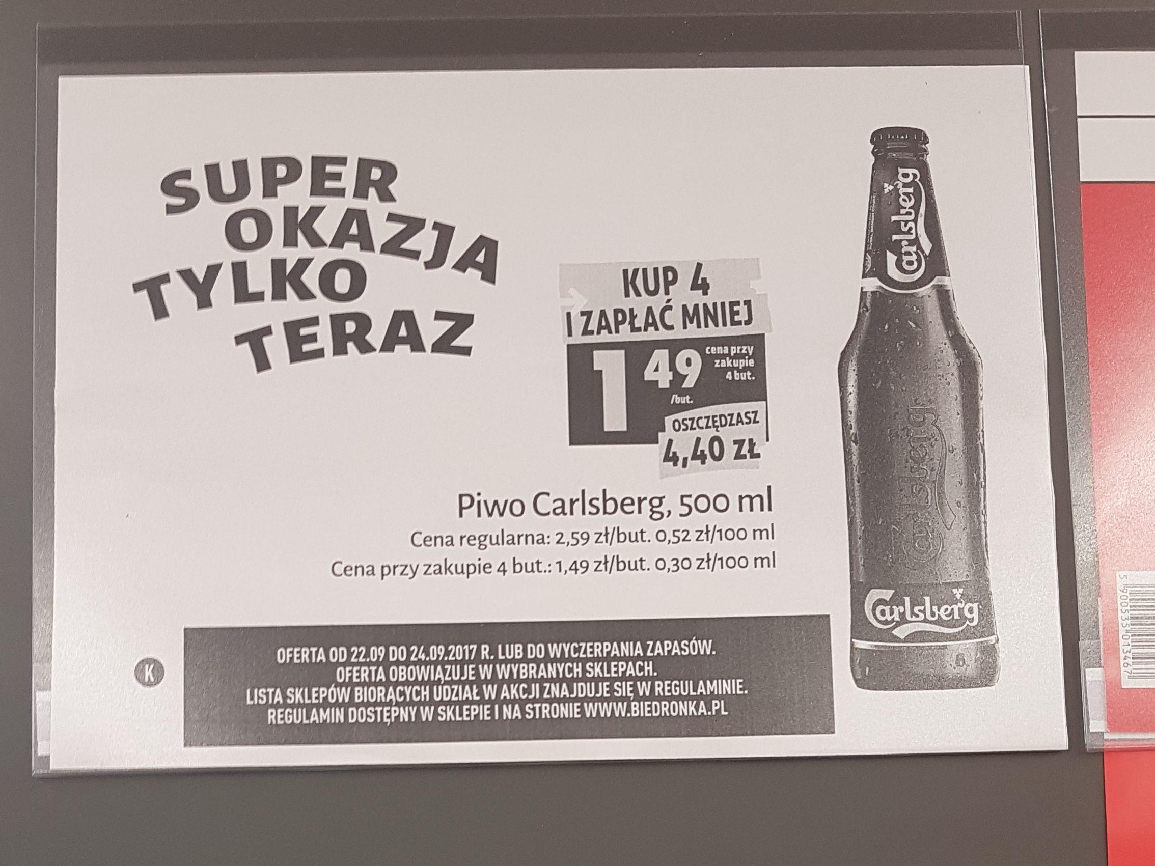 Carlsberg butelka przy zakupie 4 sztuk 1.49zł W wybranych sklepach  biedronka