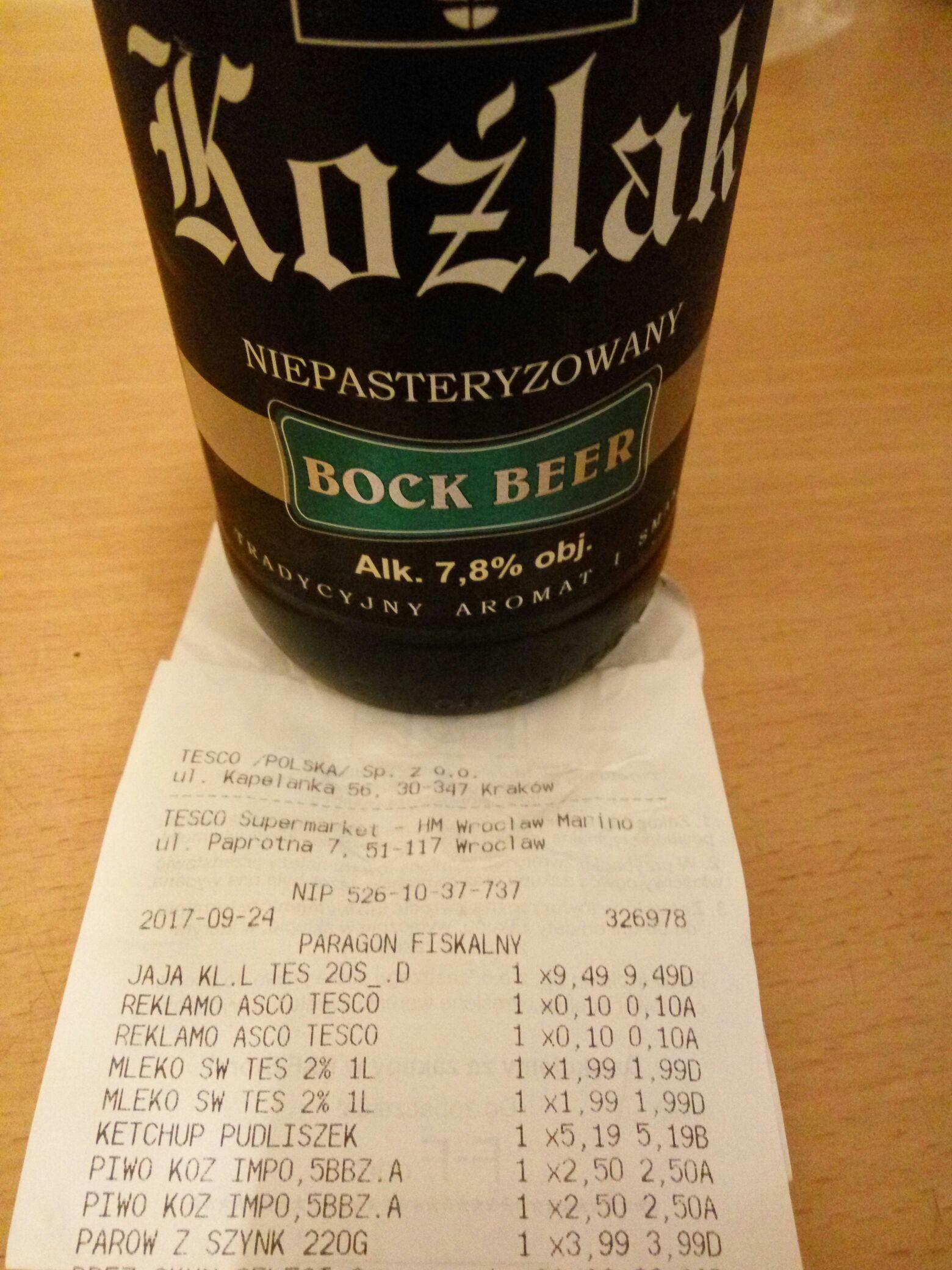 Piwo Koźlak Bock Beer @Tesco Marino (Wrocław)