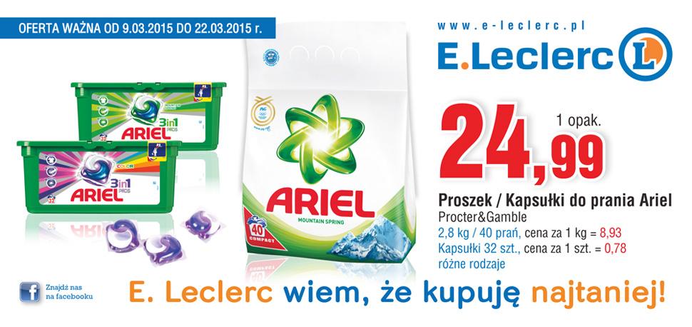 Produkty Ariel: kapsułki żelowe lub proszek do prania w cenie 24,99zł @ E.Leclerc