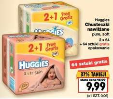 Trójpak chusteczek Huggies za 9,99 zł @ Kaufland