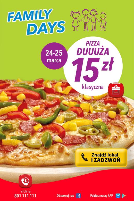 Klasyczna, duża pizza za 15zł @ Telepizza