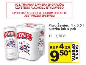4pak piwa Żywiec (4x0,5l) za 9,50zł @Żabka