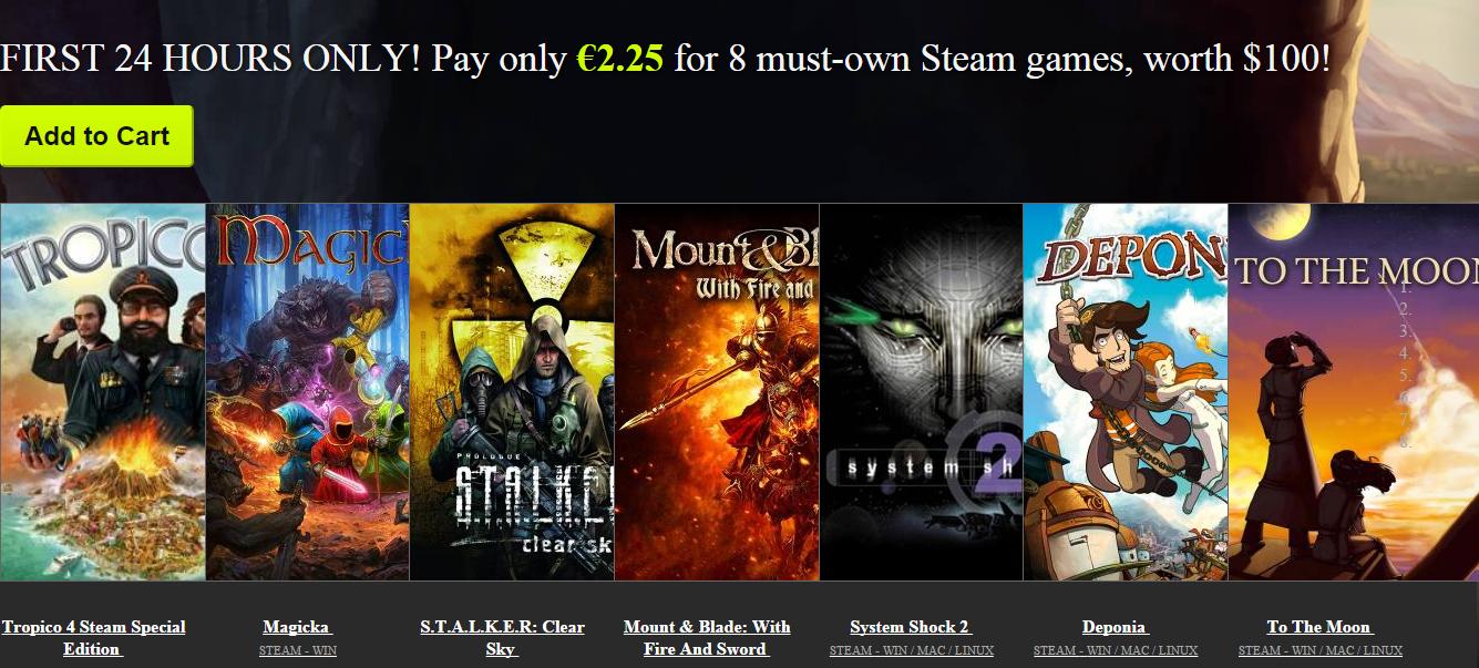 (AKTUALIZACJA) 8 gier wartych około 100$ za 14zł (Tropico, Stalker, Deponia, Mount&Blade i inne) @Bundle Stars