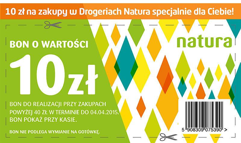 Kupon na 10zł rabatu na zakupy w drogeriach stacjonarnych @Natura
