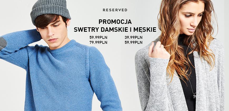 Promocja na damskie i męskie swetry @ Reserved