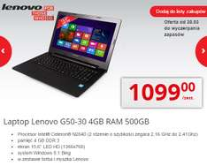 Laptop Lenovo G50-30 za 899zł (2x2,41GHz, 15,6', 4 GB RAM, dysk 500GB, Windows 8.1)+mysz+torba @Biedronka