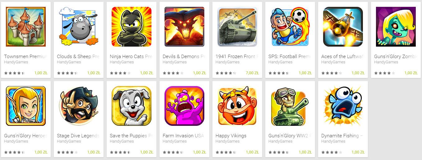 Aktualizacja! 15 gier po złotówce każda (od HandyGames) @ Google Play