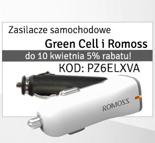 Kod rabatowy na zasilacze samochodowe Green Cell i Romoss @ŚwiatBaterii