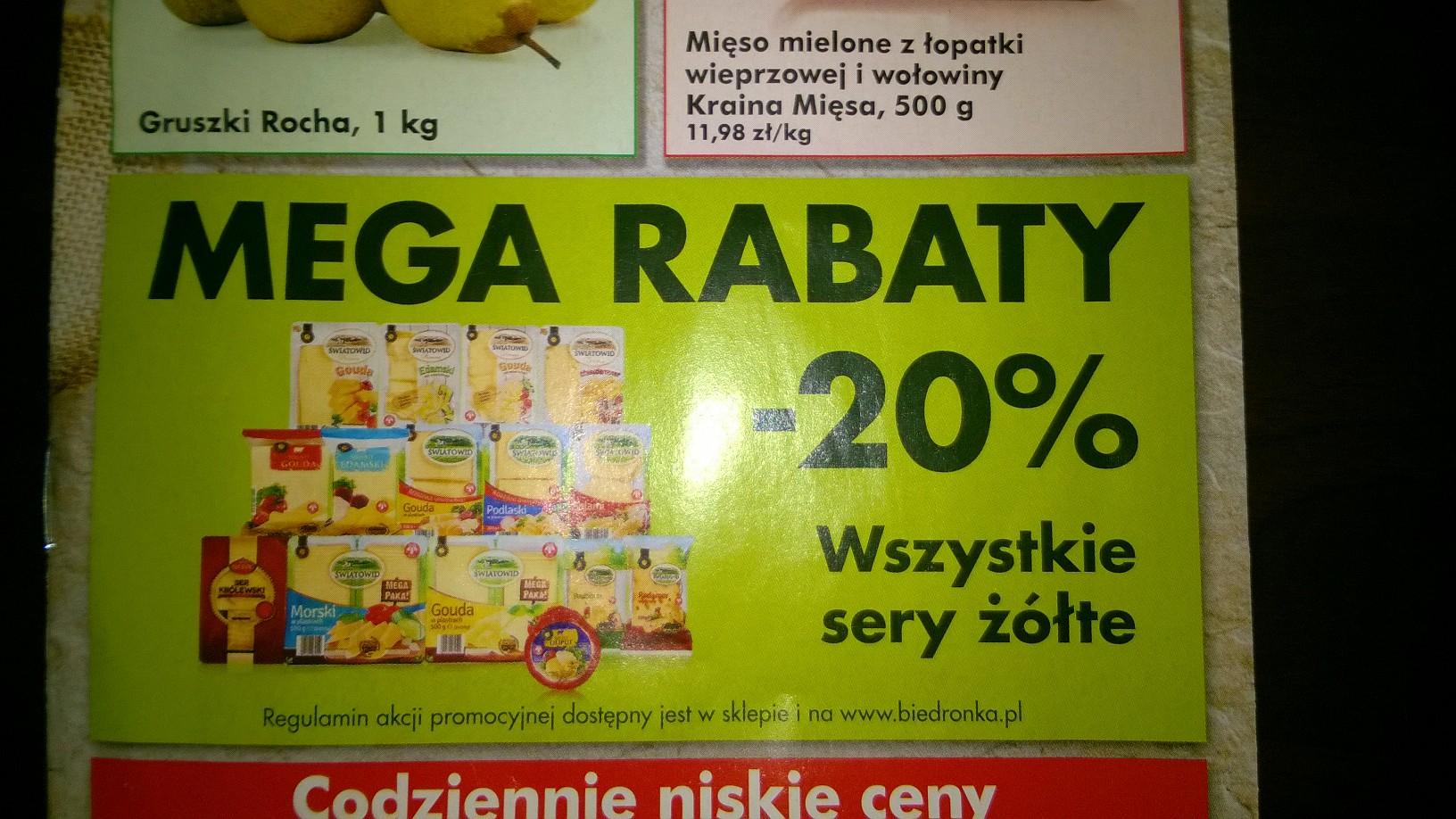 MEGA RABATY!!! -20% na wszystkie sery żółte @ Biedronka