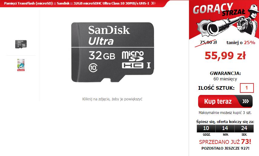 karta microSDHC SanDisk Ultra (Class 10) 32GB  za 55,99zł@ X-kom
