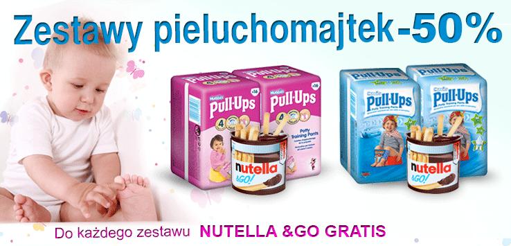 Tani zestaw pieluchomajtek (2 opakowania) plus nutella gratis za 25,89zł @ bdsklep.pl