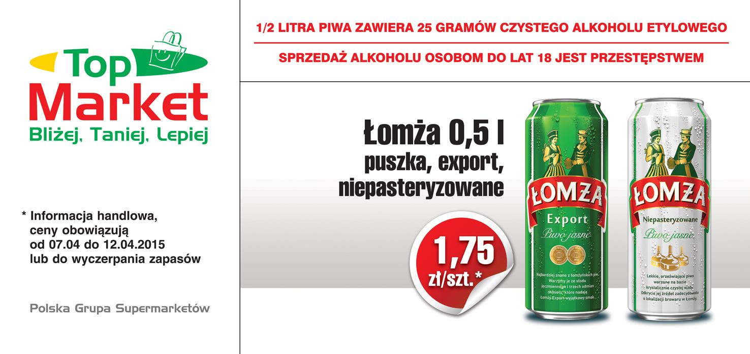Piwo Łomża Export lub Niepasteryzowane 0,5l (puszka) za 1,75zł @Topmarket