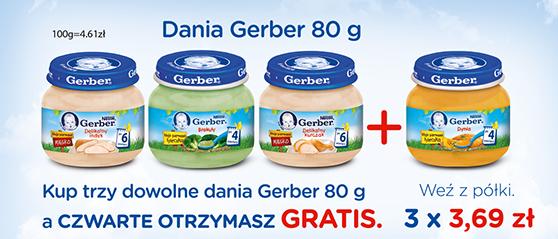 Promocja (3+1 GRATIS lub 2+1 GRATIS) na dania i deserki Gerber @ Rossmann