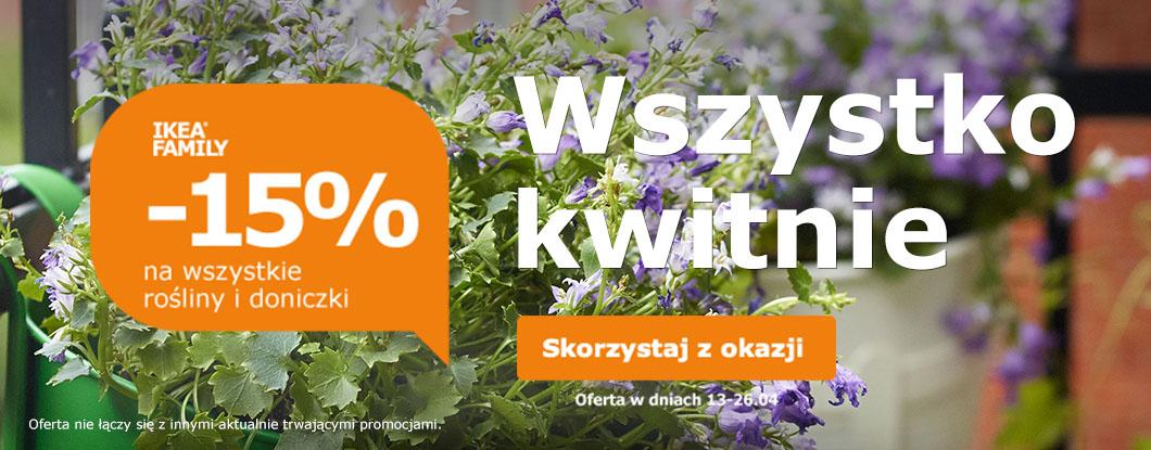 Rabat 15% na doniczki i rośliny dla posiadaczy karty Ikea Family @ Ikea