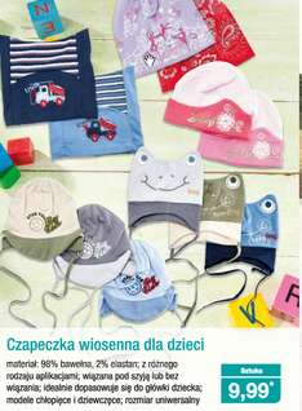 Bawełniane czapeczki dla dzieci w cenie 9,99zł @ Aldi