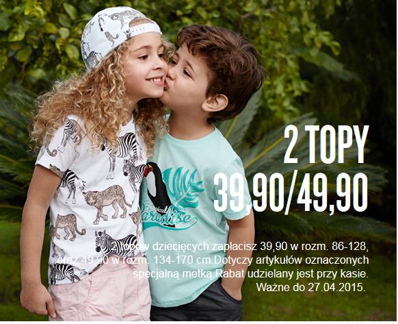 Topy dla dzieci i młodzieży w promocyjnych cenach 2 za 39,90zł/ 2 za 49,90zł @ KappAhl