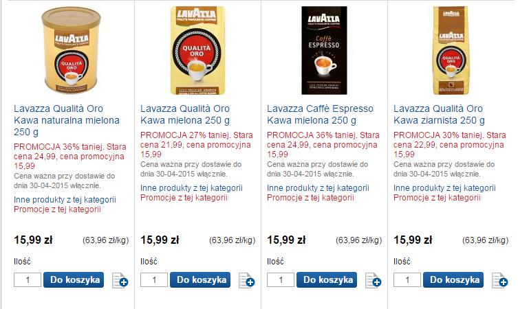 Kawy LavAzza do 36% taniej (Qualita Oro, Caffe Espresso) @ Tesco