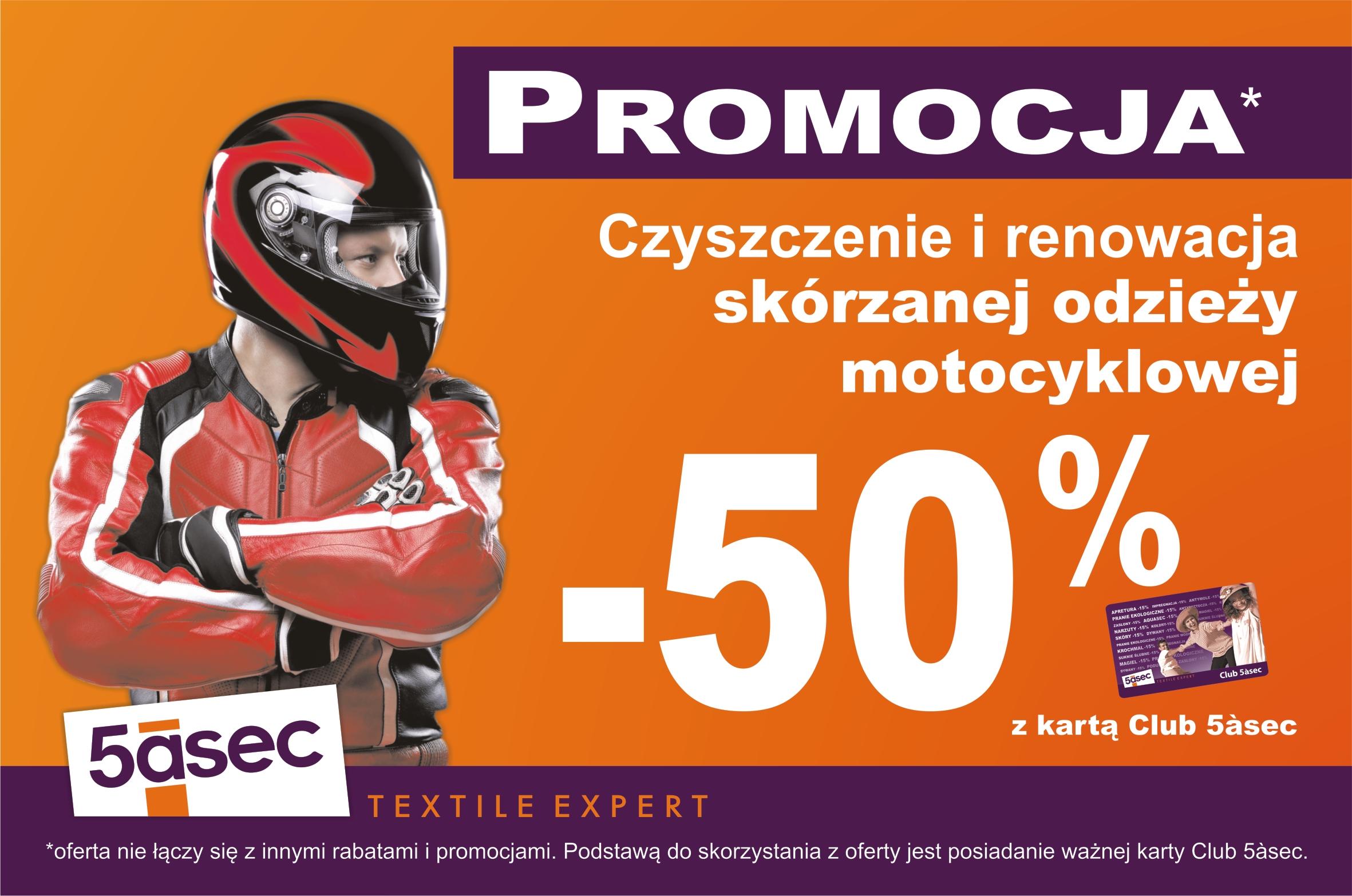 -50% na czyszczenie i renowację odzieży motocyklowej @ 5asec
