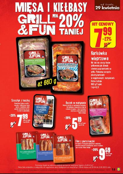 -20% na wszystkie gotowe mięsa i kiełbasy na grilla @ Lidl