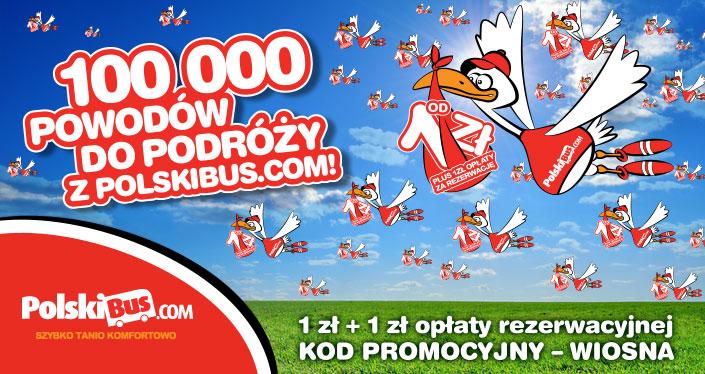 100000 biletów na wszystkich trasach za 1zł +1zł opłaty rezerwacyjnej @ PolskiBus