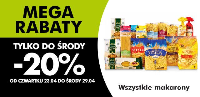 (MEGA RABATY) -20% na wszystkie makarony od 23.04 @ Biedronka