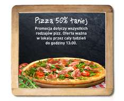 Dowolna pizza 50% taniej @ Pizza Dominium