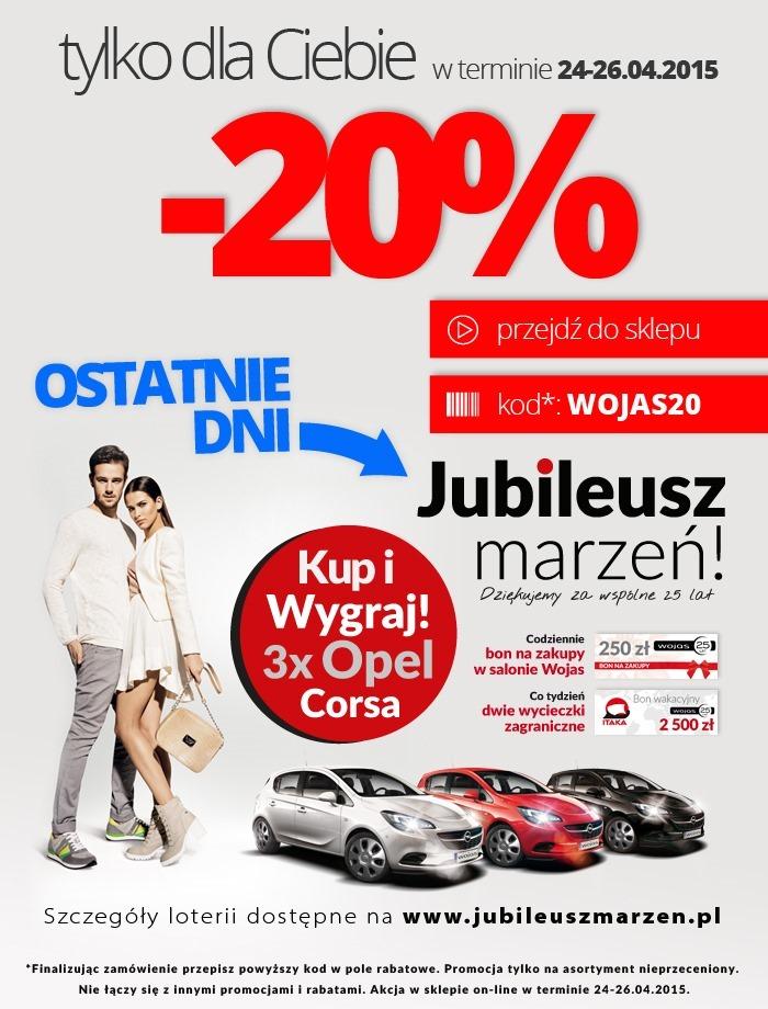 Kod rabatowy -20% do wykorzystania w e-sklepie @ Wojas
