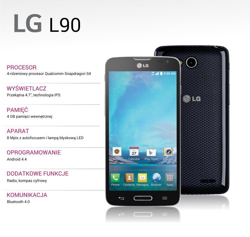 Smartfon LG L90 + karta microSD 32GB za 559zł (4,7', 1GB RAM, pamięć 4GB, Android 4.4) @ Allegro
