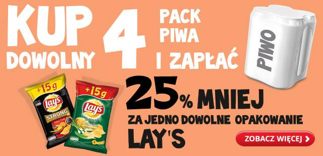 25% rabatu na Lay's przy zakupie dowolnego 4paku piwa @ Biedronka