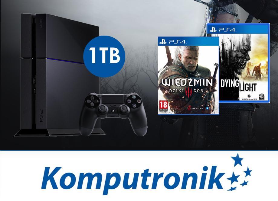 Playstation 4 z dyskiem 1TB + Wiedźmin 3 + Dying Light za 1799zł @ Komputronik