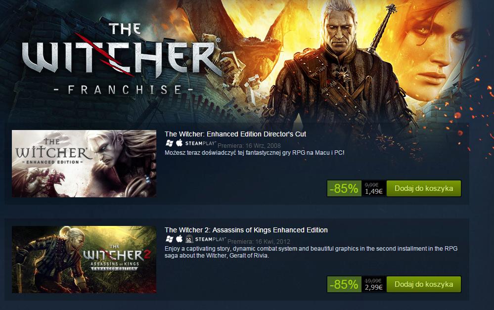 Wiedźmin Edycja Rozszerzona za 6zł oraz Wiedźmin 2: Zabójcy Królów Edycja Rozszerzona za 12zł (PC) @ Steam