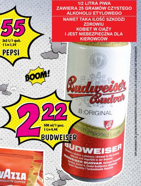 Piwo Budweiser w puszce za 2,22zł @ Lidl