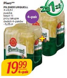 8 puszek piwa Pilsner Urquell za 20,99zł (2,62zł/puszka) @ Carrefour