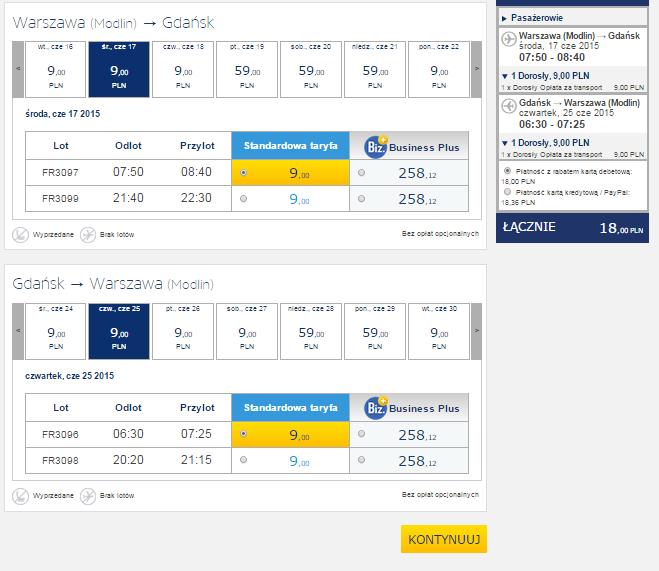 Krajowe bilety lotnicze na trasie Warszawa-Gdańsk oraz Wrocław-Warszawa za 9zł (MAJ-CZERWIEC) @ Ryanair
