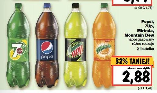 Pepsi, Pepsi Light, 7Up, Mirinda, Mountain Dew (2L) za 2,88zł! @ Kaufland