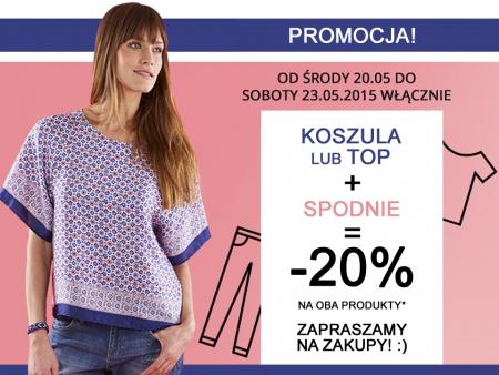 Rabat 20% na zestaw: koszula/top + spodnie @ Camaieu