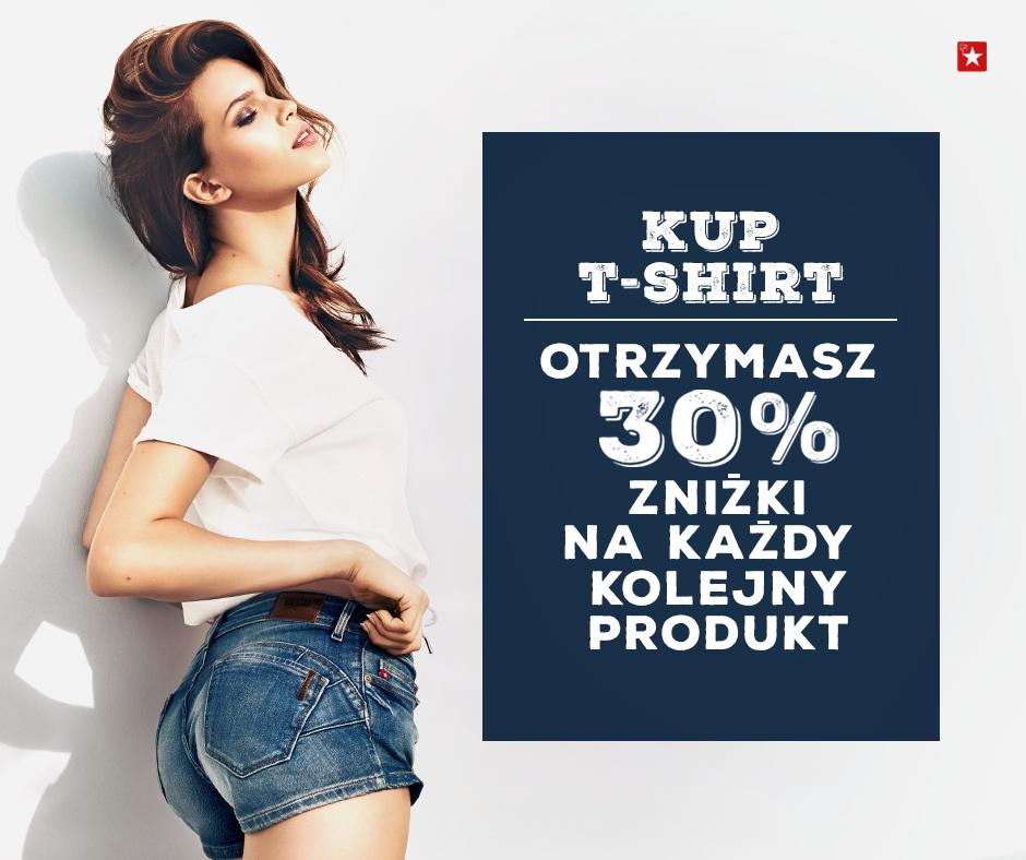 Kupując t-shirt otrzymujesz 30% rabat na każdy kolejny produkt @ Big Star