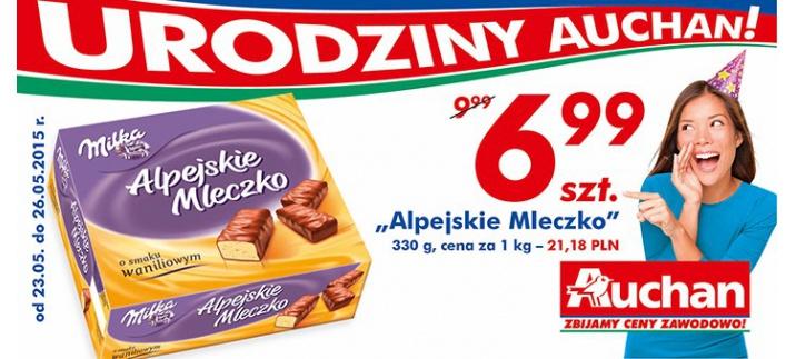 Alpejskie Ptasie Mleczko Milka w cenie 6,99zł za 330g @ Auchan