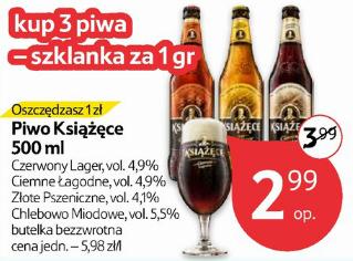 3 butelki piwa Książęce + szklanka za 8,98zł @ Tesco