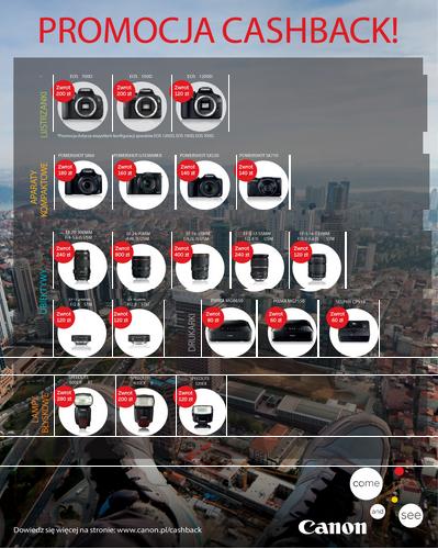 Canon Cashback (zwrot gotówki) przy zakupie sprzętu (aparaty, kamery, obiektywy, lampy, drukarki) do 800zł @ Canon