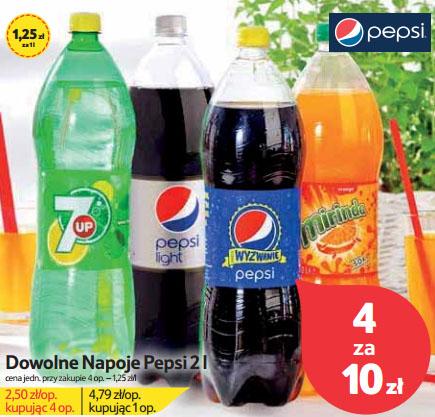 Dowolne napoje Pepsi 2l za 2,5zł @ Tesco