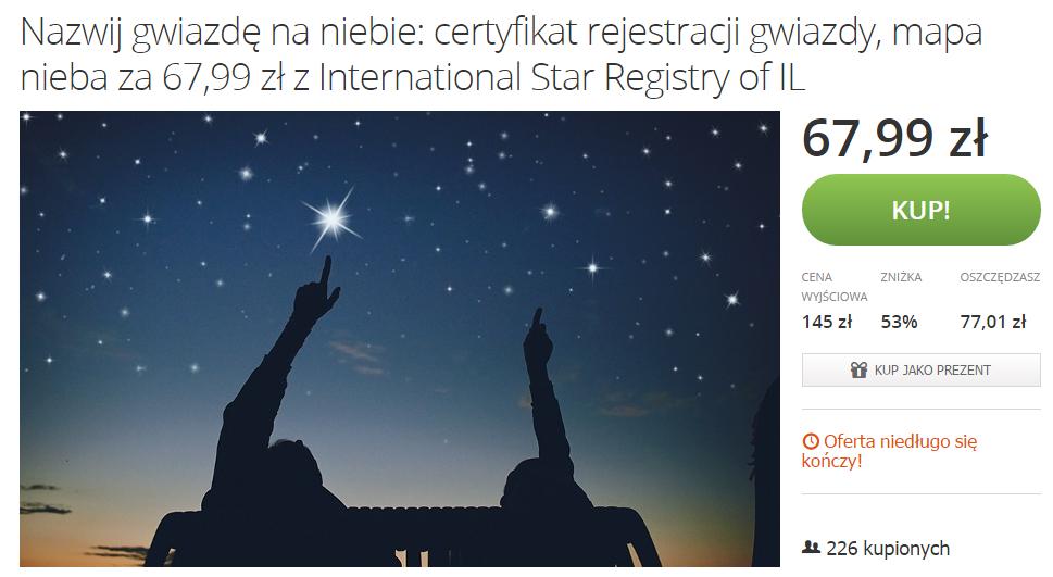 Nazwij gwiazdę na niebie! @ Groupon