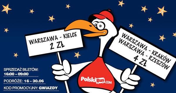 PolskiBus: z Warszawy do Kielc za 2 zł do Krakowa i Rzeszowa za 4 zł